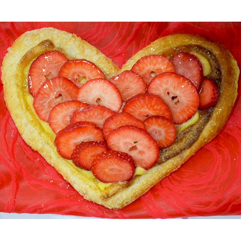 Per Sant Valentí Cor de Pasta de full amb Fresons