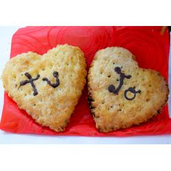 Por San Valentín 2 Corazones de Hojaldre de chocolate y crema